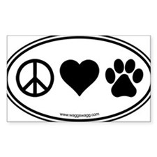 Peace Love Paws Black Bumper Stickers