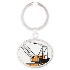 Construction Crane Hoist Retro Oval Keychain