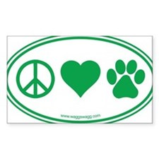 Peace Love Paws Green Decal