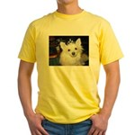 Pomeranian on front and back of Yellow T-Shirt