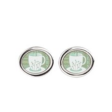 Tea Words Jumble Print - Green and Blue Cufflinks