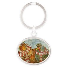 Chickens with Scarves - Laptop Skin Oval Keychain