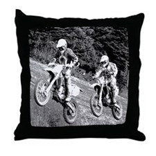 Two Dirtbikers Catching Air (BW) Throw Pillow