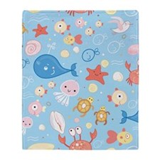 Cute Sea Life Throw Blanket