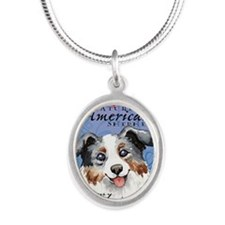 mini aussie-card Silver Oval Necklace