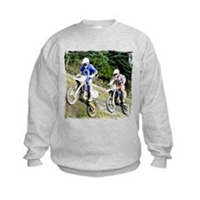 Two dirt bikers catching air Sweatshirt