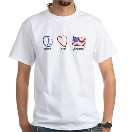 Peace, Love White T-Shirt