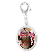 GREETING CARDS Groundhog Day-6  Silver Oval Charm