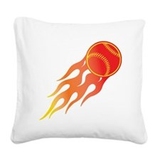 Softball Fire Square Canvas Pillow