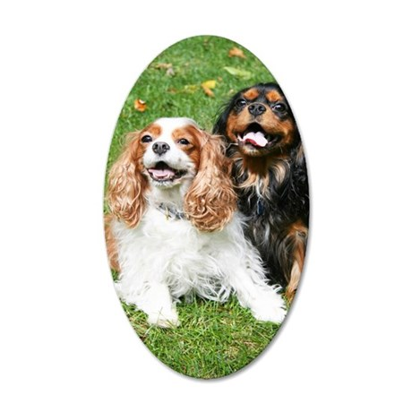 Happy Cavalier King Charles  35x21 Oval Wall Decal