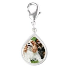 Happy Cavalier King Charles Silver Teardrop Charm