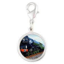 Flying Scotsman - Steam Train Silver Round Charm