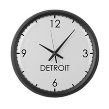 DETROIT World Clock Large Wall Clock
