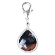 Miniature Pinscher Dog Silver Teardrop Charm