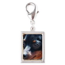 Miniature Pinscher Dog Silver Portrait Charm