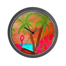 flamingo in paradise Wall Clock