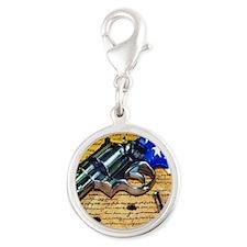 Gun, 2nd Amendment Silver Round Charm