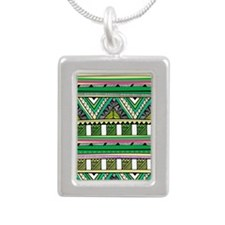 Native Pattern Silver Portrait Necklace