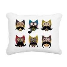 Cute owls with mustaches Rectangular Canvas Pillow