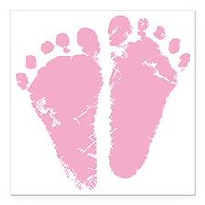 "Pink Feet Square Car Magnet 3"" x 3"""