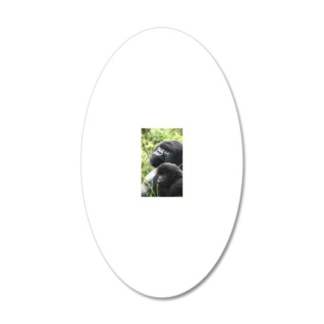 Mountain Gorilla Father  Son 20x12 Oval Wall Decal
