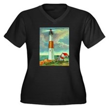 Montauk Point Lighthouse Women's Plus Size V-Neck
