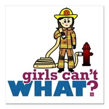 "Woman Firefighter Square Car Magnet 3"" x 3"""