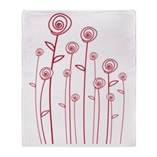 abstract red roses Throw Blanket