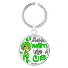D Aunt Fights Like Girl Lymphoma 42 Round Keychain