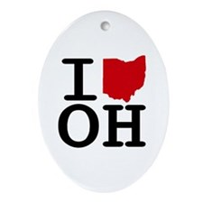 I Heart Ohio Oval Ornament