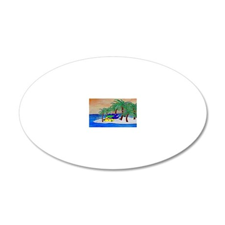 Island Camping Art 20x12 Oval Wall Decal