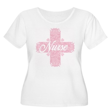 Nurse Pink Lacy Cross Women's Plus Size Scoop Neck