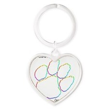 Canine Cancer Paw Heart Keychain