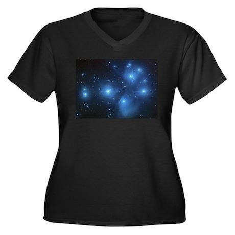 Seven Sisters Women's Plus Size V-Neck Dark T-Shir
