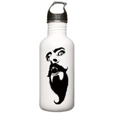 mustache madness white Water Bottle