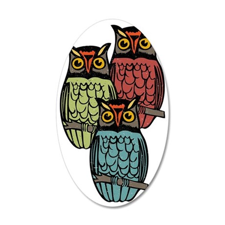Owl Trio 35x21 Oval Wall Decal