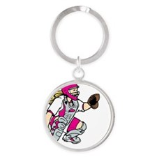 pink2 No Place Like Home Round Keychain