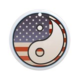 Patriotic Flag Yin &amp; Yang Ornament (Round)