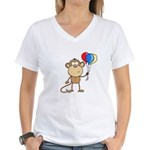 Monkey with Balloons Women's V-Neck T-Shirt