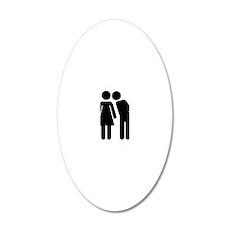 Couple kiss 20x12 Oval Wall Decal