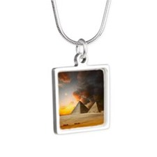 Great Pyramids of Giza Silver Square Necklace