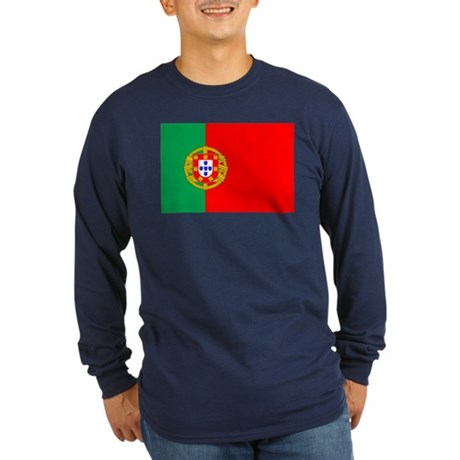 Portuguese Flag of Portugal Long Sleeve Dark T-Shi