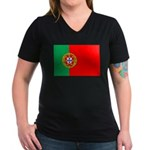 Portuguese Flag of Portugal Women's V-Neck Dark T-
