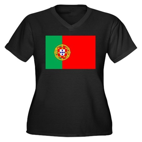 Portuguese Flag of Portugal Women's Plus Size V-Ne