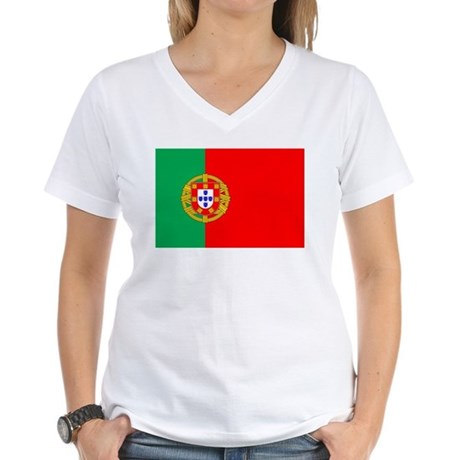 Portuguese Flag of Portugal Women's V-Neck T-Shirt