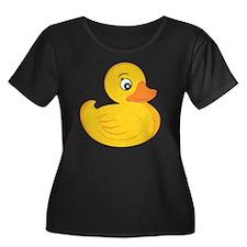 Rubber D Women's Plus Size Dark Scoop Neck T-Shirt