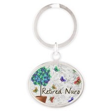 Retired Nurse Pillow 7 butterflies Oval Keychain
