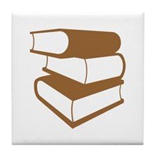 Stack Of Brown Books Tile Coaster