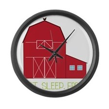 Eat Sleep Farm Large Wall Clock