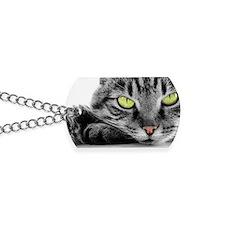 grey cat green eyes Dog Tags